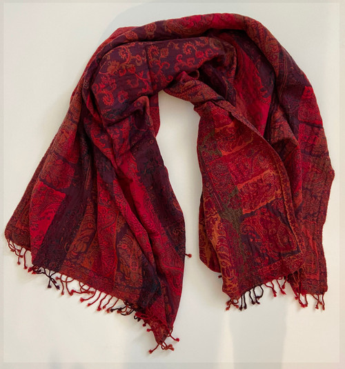 """Handwoven Boiled Wool Throw Reds India (54"""" x 80"""")"""