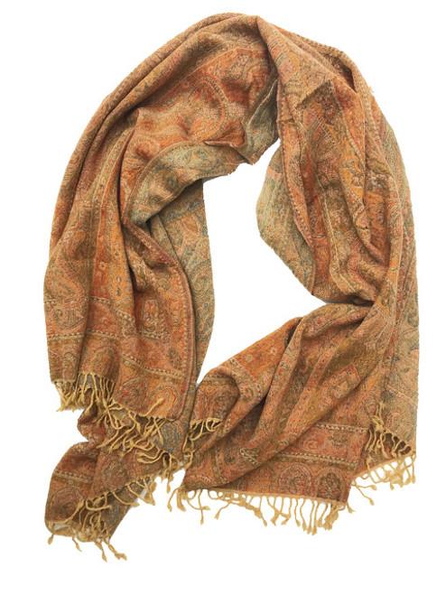 Handwoven Boiled Wool Throw Saffron India