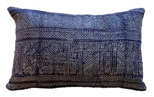 Laos Hemp Batik Indigo Pillow India Kantha Back