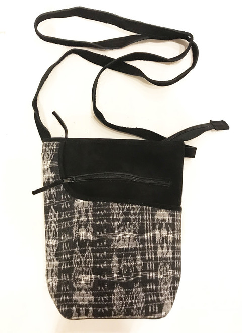 "HandwovenTraditional Cotton and Suede Cross Shoulder Black and White Purse Guatemala (8""x 10"")"