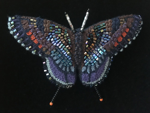 """Handmade Embroidered Beaded Red Spotted Purple Butterfly Brooch (2.75"""" x 2"""")"""