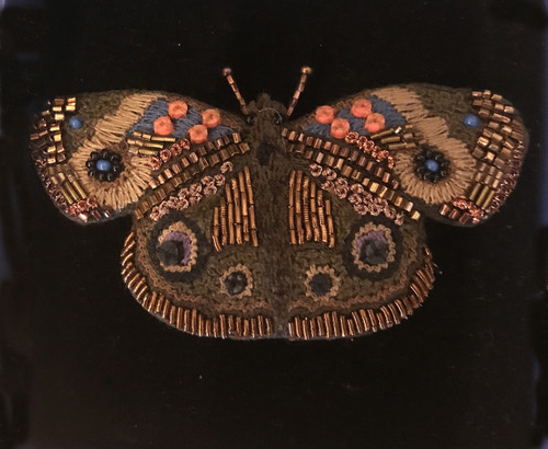 """Handmade Embroidered and Beaded Buckeye Butterfly Brooch (3"""" x 2"""")"""