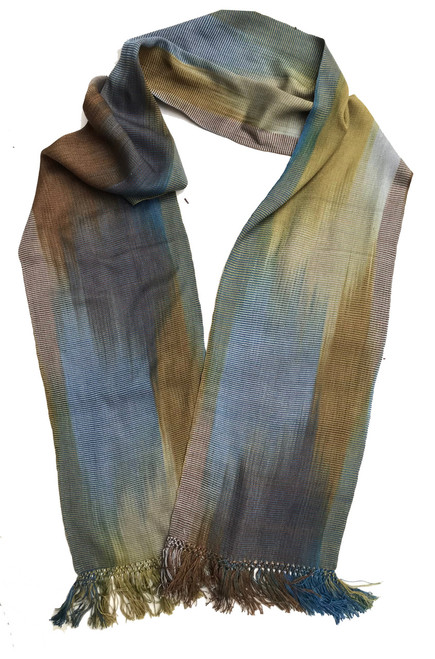"""Bamboo Hand Dyed Handwoven Scarf Grey Brown Blue Guatemala (8"""" x 68"""")"""