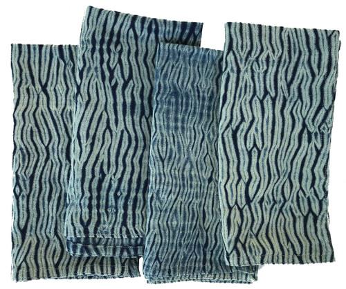 """Shibori Dyed Indigo Dyed Napkins India Set of 4 (20""""x 20"""")"""