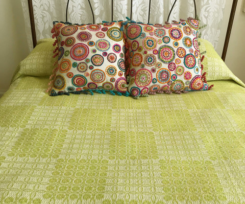 "Woven Cotton Coverlet Citron South Africa (100"" x 100"")"