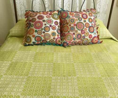 "Woven Cotton Coverlet Citron South Africa (100"" x 100"")"