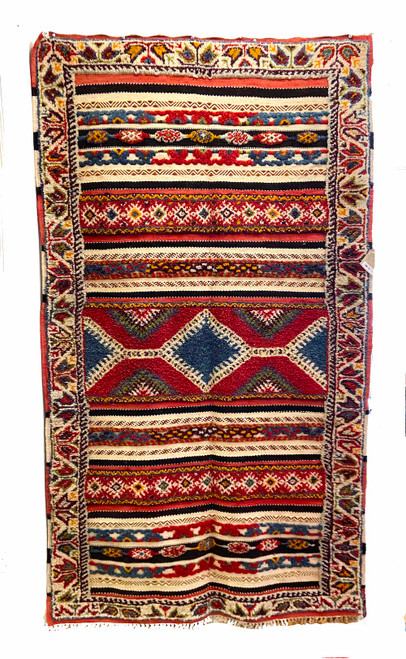 "Handwoven Glaoui Wool Flat Weave with Pile Tribal Berber Rug Morocco (42"" x 72"") brick red, medium indigo, natural white, gold, burgundy, bright olive, light brick red, khaki and black"