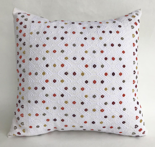 """Handwoven Brocade Cotton Pillow Mexico (15"""" x 15"""")"""