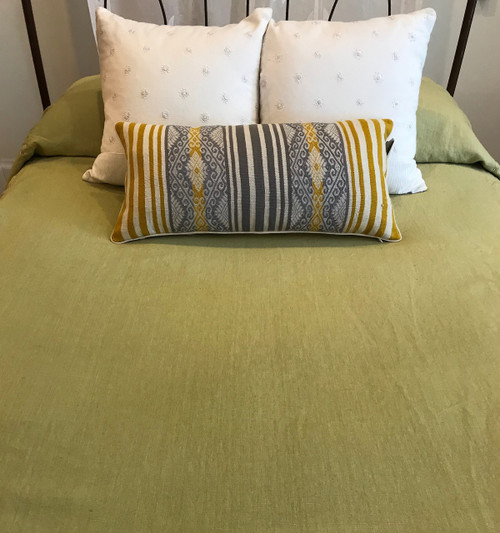 "Handstitched Linen Coverlet Citron Queen or King (100"" x 100"")"