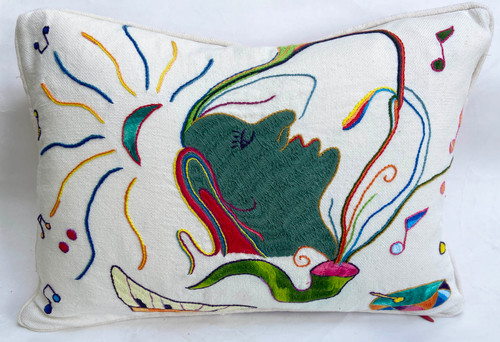 Handwoven and Hand Embroidered Music Pillow Green White