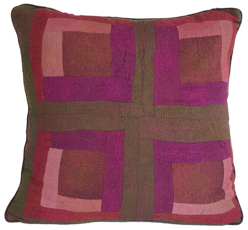 """Hand Quilted Reds 3 Patchwork Silk Pillow India (20"""" x 20"""")"""