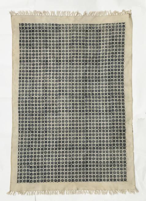 """Handmade Block Printed Natural Dyed Indigo and Natural Canvas Rug India (48"""" x 72"""")"""
