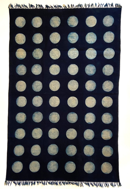 Handmade Block Printed Natural Dyed Indigo and white Dot Canvas Rug India