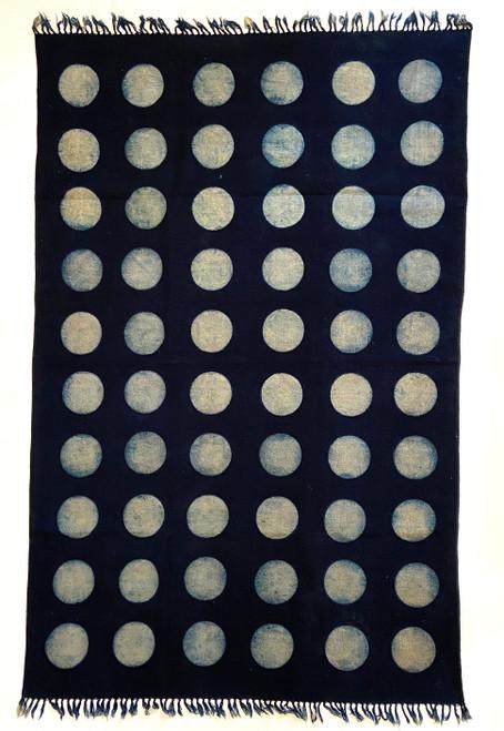 Handmade Block Printed Natural Dyed Indigo and white Dot Canvas Rug India