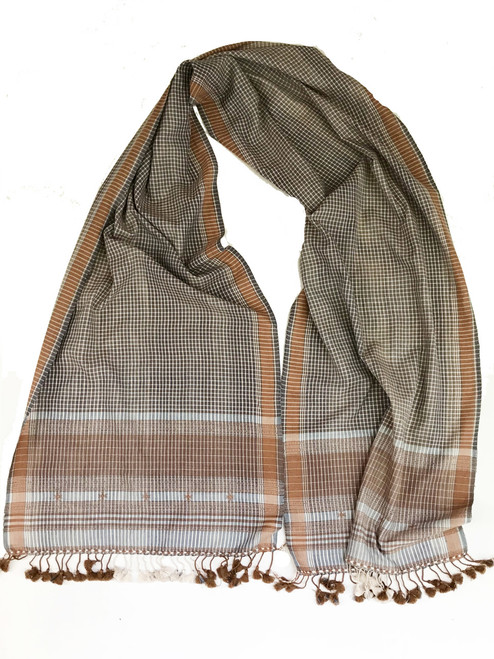 "Handwoven Natural Dyed Silk and Cotton Scarf B India (16"" x 72"")"