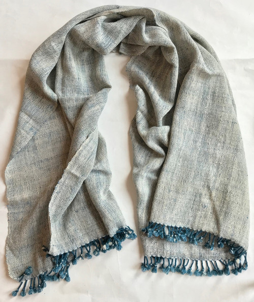 """Handwoven Woolen Natural Dyed Indigo and White Throw India (37"""" x 84"""")"""