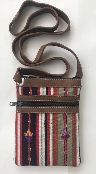 "Cross Shoulder Zipper Pouch Purse Solola Guatemala (5.5"" x 7.5"")"