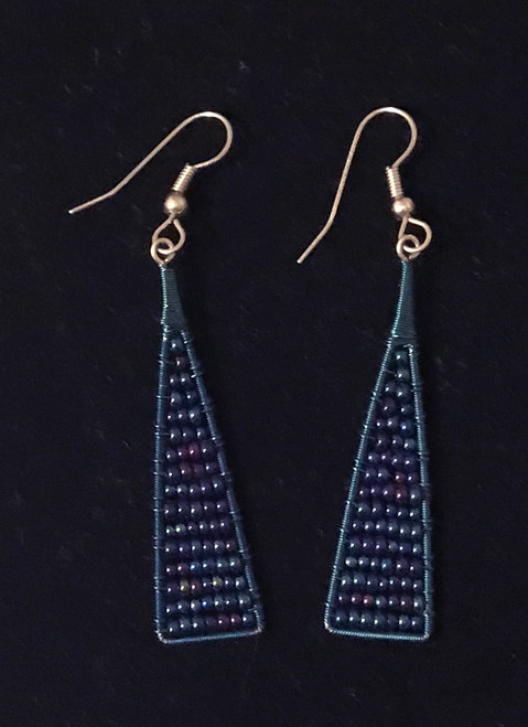 "Handmade Beaded and Wire Drop Earrings Guatemala (2"" drop)"