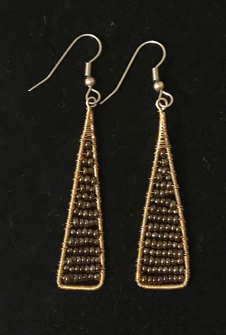 "Handmade Beaded and Wire Drop Earrings 2 Guatemala (2"" drop)"