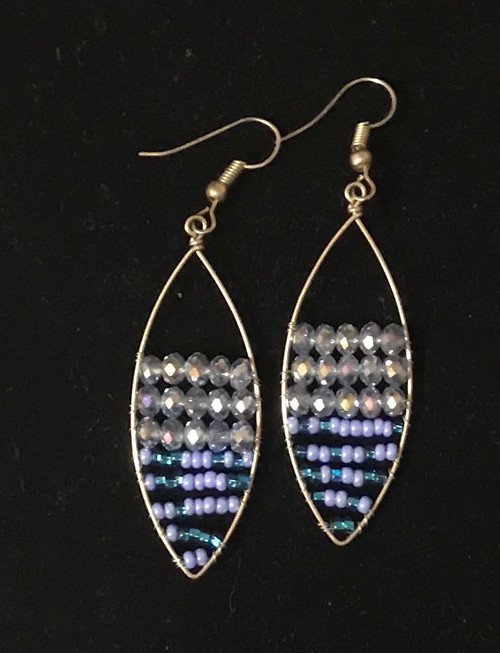 "Handmade Beaded and Wire Drop Earrings Oval Guatemala (2"" drop)"