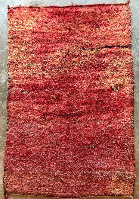 """Handwoven Handwoven and Pile Red Wool Rug Morocco (70"""" x 97"""")"""