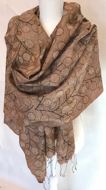 """Hand Embroidered Kantha Stitched Silk Wrap India (26"""" x 84"""")"""
