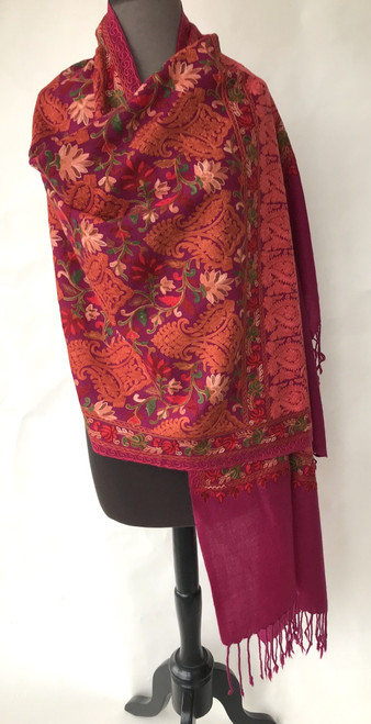 "Woolen Dense Machine Embroidered Shawl on Fuschia India (27"" x 80"")"