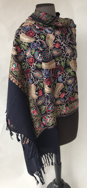 "Woolen Dense Machine Embroidered Shawl on Navy India (26"" x 76"")"