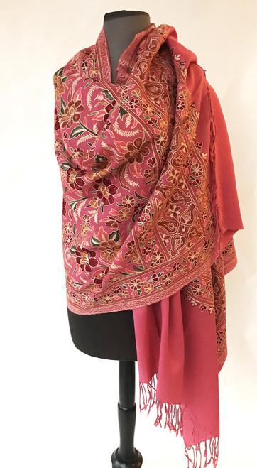 """Woolen Dense Machine Embroidered Shawl Rose India (28"""" x 80"""")"""