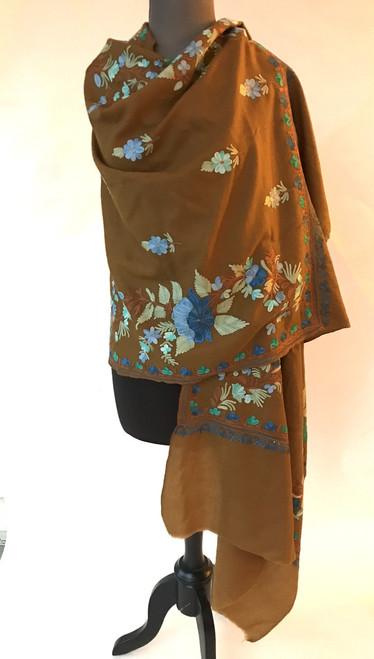 """Woolen Dense Machine Embroidered Shawl Olive Brown India (28"""" x 80"""")"""