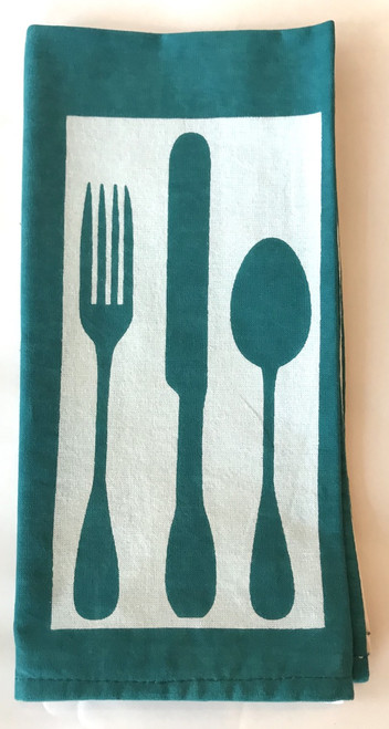 "Hand Printed Cotton Napkin Green set of 4 Silverware India (19""x 19)"