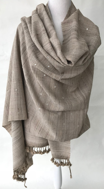 "Hand Spun Hand Woven Silk and Wool Shawl With Mirrors India (34"" x 82"")"