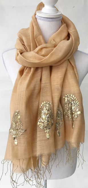 """Hand Woven Silk Shawl with Metalic Hand Embroidery India (32"""" x 79"""")"""