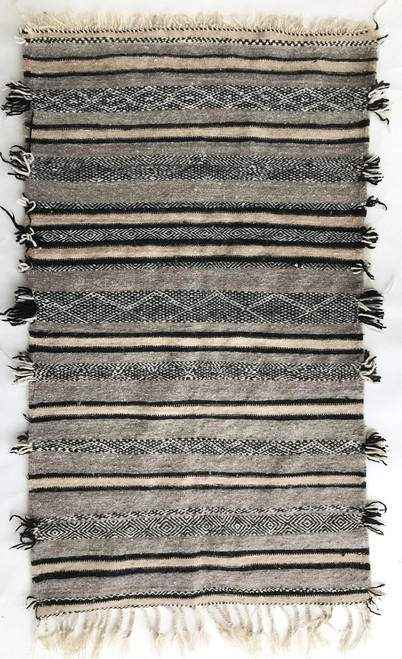 "Handwoven Wool Flat Weave Grey Berber Rug Morocco (30"" x 51"")"