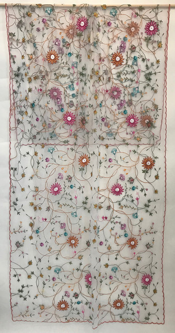 Hand Embroidered Overall Floral Design White Tulle India (40 x 96)