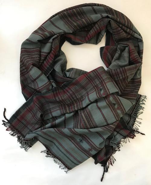 Hand Spun Natural Dye Hand Woven Wool Throw India (45 x 90)