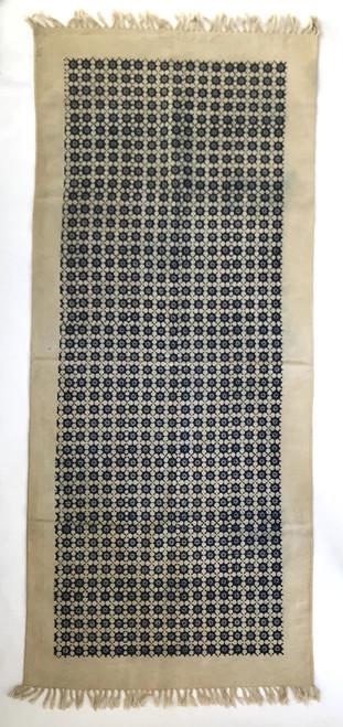 """Handmade Block Printed Natural Dyed Canvas Runner  Indigo on Natural India (30"""" x 69"""")"""