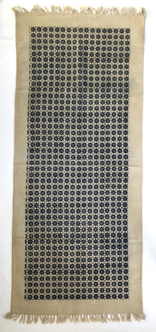 Handmade Block Printed Natural Dyed Canvas Runner  Indigo on Natural India