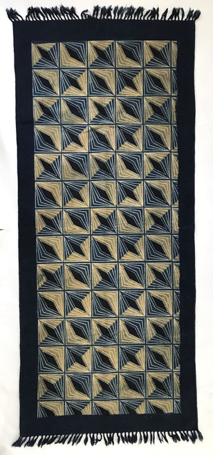 Handmade Block Printed Natural Dyed Canvas Runner  Diamonds Rug Indigo khaki wheat black