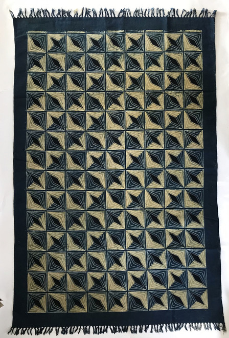Handmade Block Printed Natural Dyed Canvas Diamonds Rug India-  2 sizes Colors: charcoal brown, indigo, black and cream.