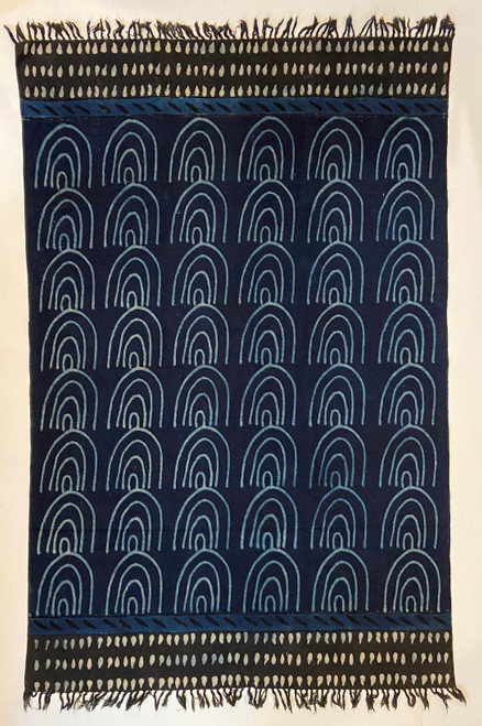 Handmade Block Printed Natural Dyed Canvas  Rug India Indigo Natural Charcoal