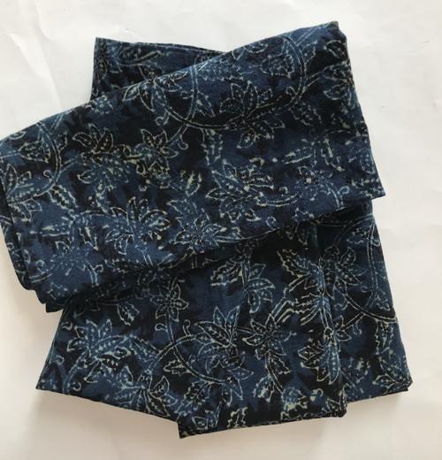 Hand Block Printed Natural Dyed Cotton Napkins  India indigo black natural