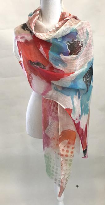 "Linen Printed  Scarf Shawl  India (26"" x 75"")"