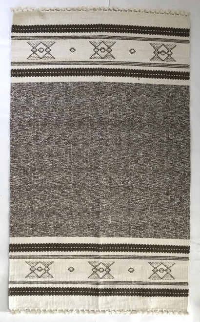 "Handwoven Wool Rug Natural Fleece Striped Colors India (36"" x60"")"