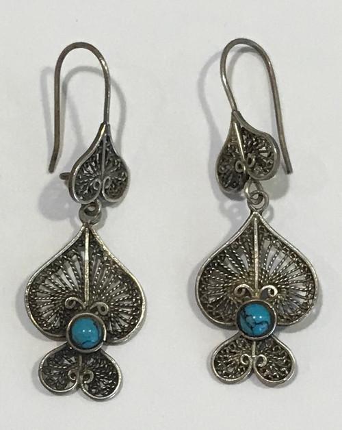 """Vintage Morocco Filagree Silver Earrings  (1.75"""" drop x .75"""" wide)"""