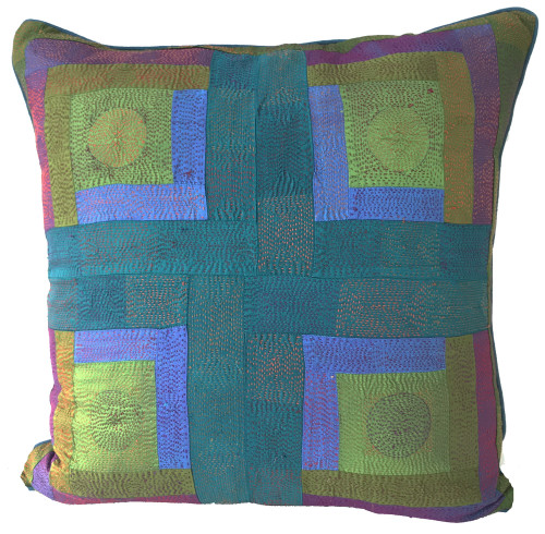 """Hand Quilted Blues Greens Patchwork Silk Pillow India (20"""" x 20"""")"""