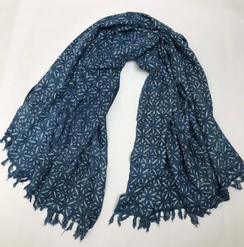 "Handwoven Block Printed Organic Cotton Throw Indigo India (50"" x 72"")"