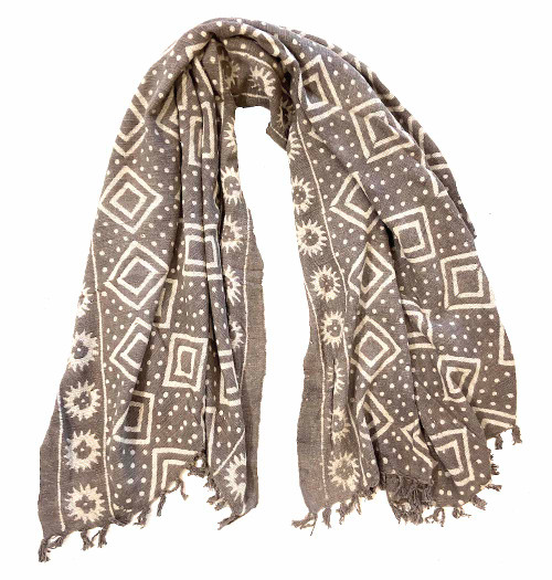 """Handwoven Block Printed Organic Cotton Taupe Throw  India (54"""" x 66"""") light taupe and off white"""