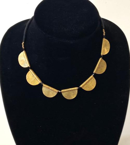 """Brass half spheres necklace India ( 7"""" drop)"""