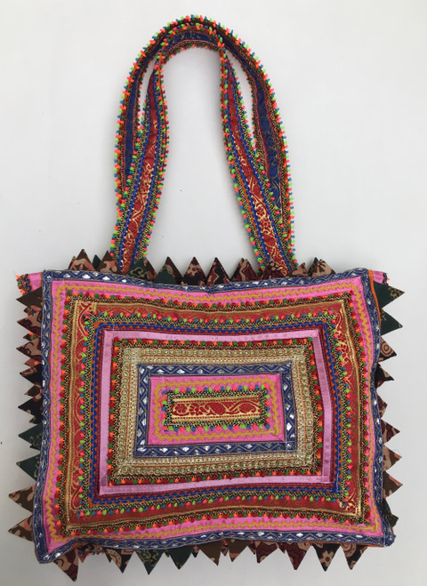 "Hand Stitched Embroidered Ric Rak Party Bag India   (12""W x 10""H)"